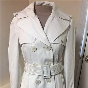 Miss Sixty White Cotton-poly Belted Trench Coat- S